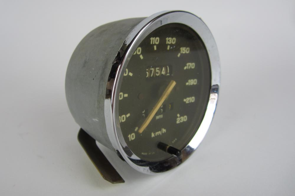 An original Smiths 230 km/h speedometer, face reading 'Made